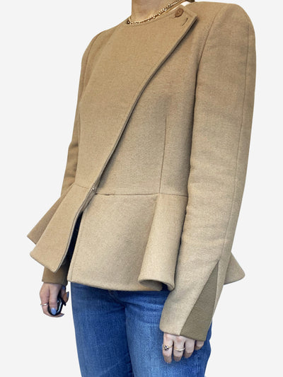 Beige peplum wool short jacket - size IT 42
