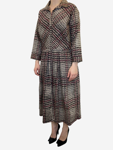 Beige and burgundy tweed print midi dress- size UK 12