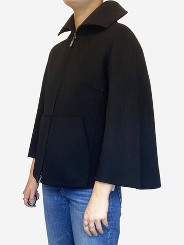 Black wool cropped zip up black cape - size FR 36