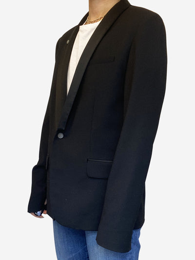 Black long sleeve open blazer with skull detail - size UK 10