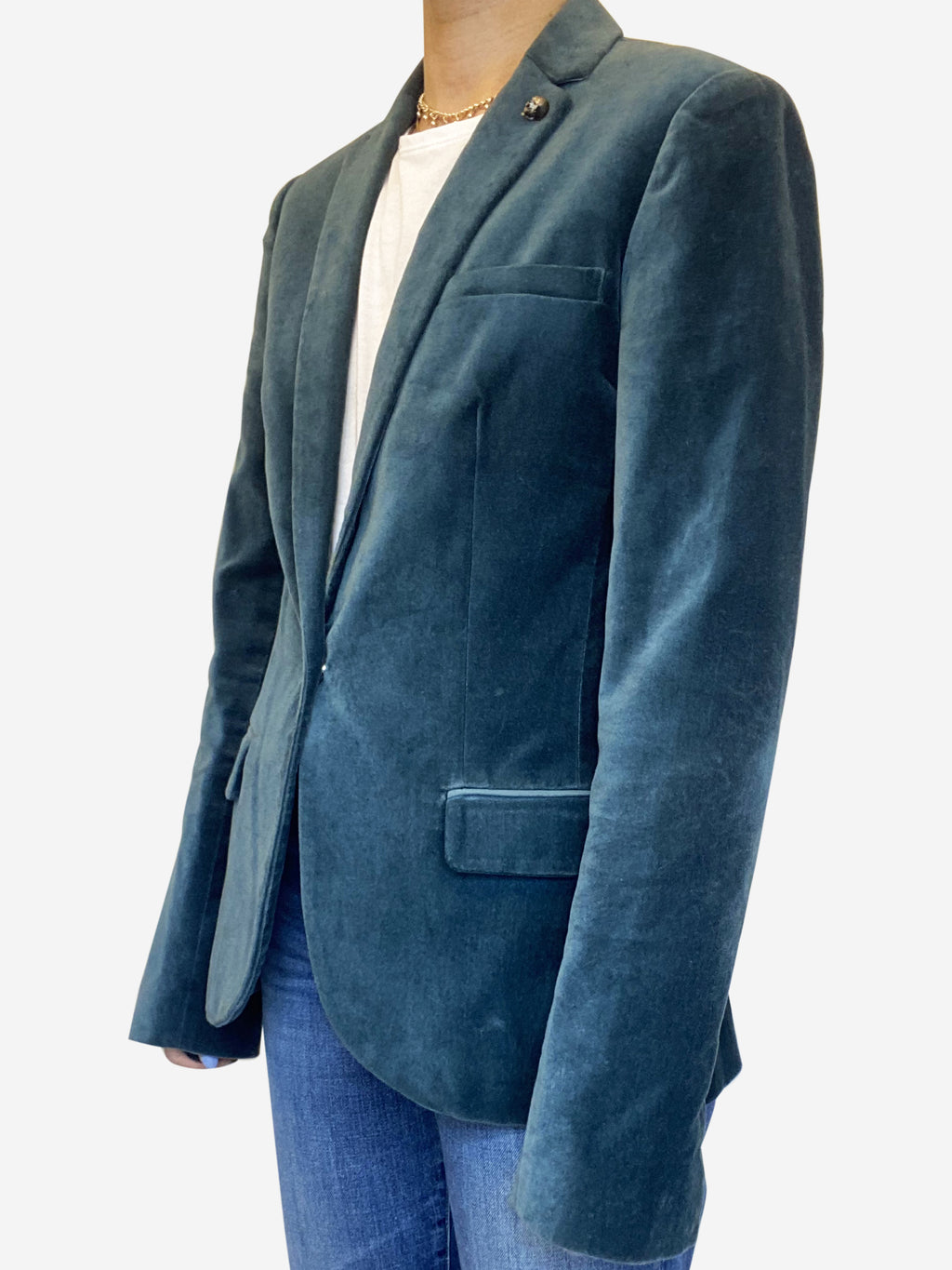 Teal velvet single breasted blazer - size UK 10