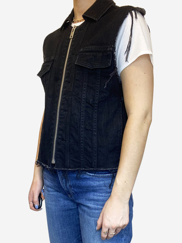 Black denim zip vest with frayed detail - size 8