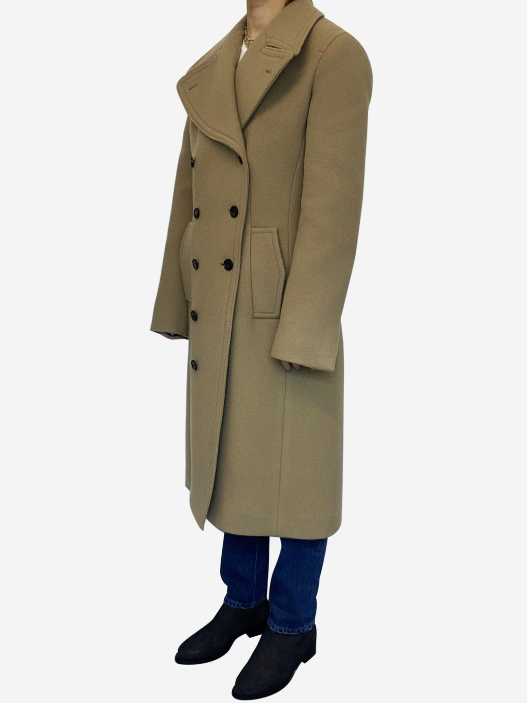 Camel double breasted long coat - size 10
