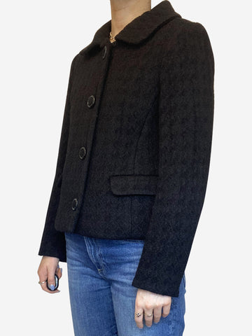 Black long sleeved wool and silk cropped jacket with black buttons - size 10