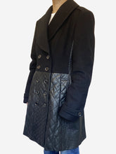 Load image into Gallery viewer, Black wool and leather double breasted coat - size M