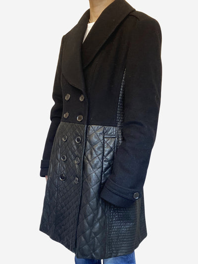 Black wool and leather double breasted coat - size M