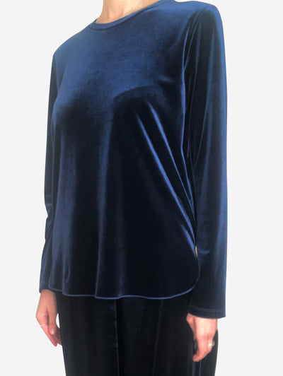 Blue velour long sleeve top - size S