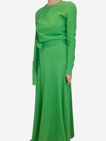 Green textured top and skirt set - size S