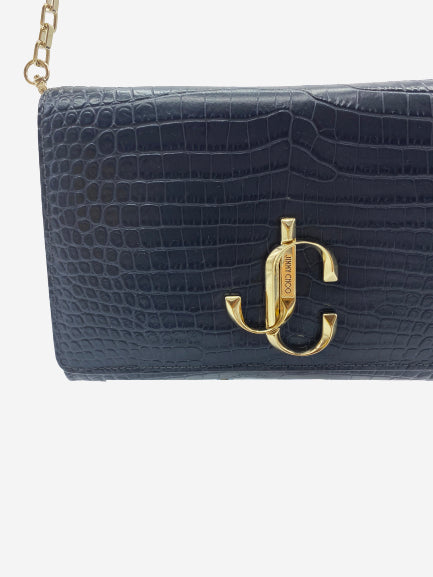 Varenne black leather croc effect clutch cross body bag