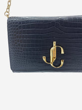 Load image into Gallery viewer, Varenne black leather croc effect clutch cross body bag