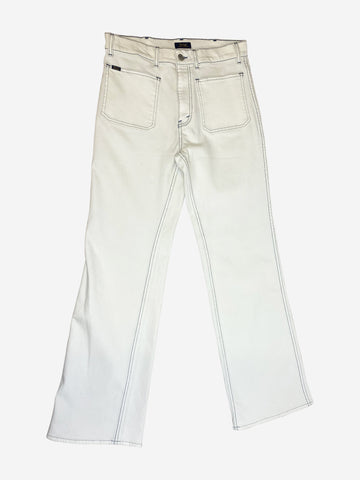 White jeans with contrast navy stitching - waist 29