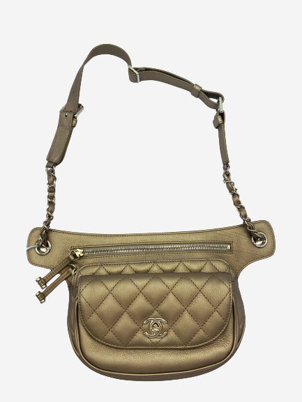 Gold quilted waist bag with chain strap