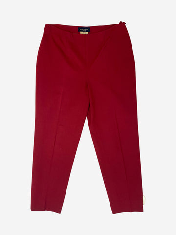 Burgundy cropped trousers - size UK 12