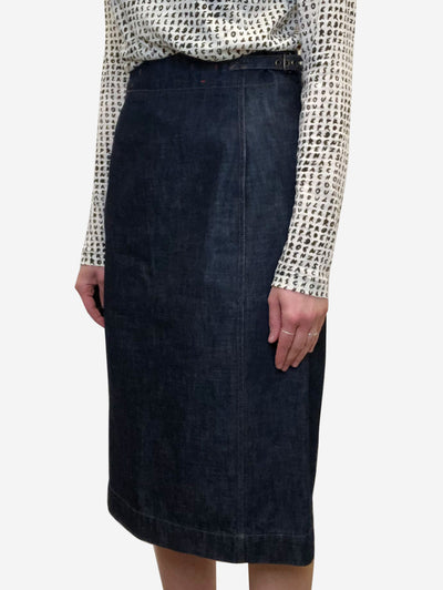 Dark blue denim midi skirt - size IT 42