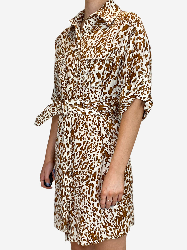 Cream and brown leopard utility shirt dress - size S
