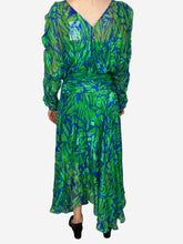 Load image into Gallery viewer, Green / blue long sleeve cut out shoulder dress -  size XS
