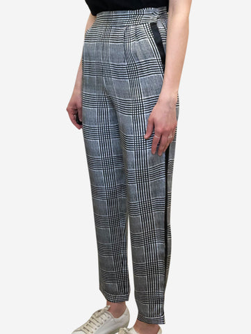 Black & white check print silk trousers - size US 2