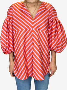 Pink and orange striped puff sleeve top - size M