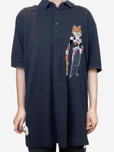 Dolce & Gabbana Black fox detailing polo - size IT 42