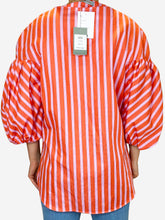 Load image into Gallery viewer, Pink and orange striped puff sleeve top - size M