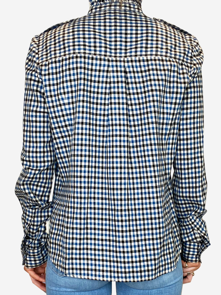 Blue and white checked shirt with frill collar - size FR 38