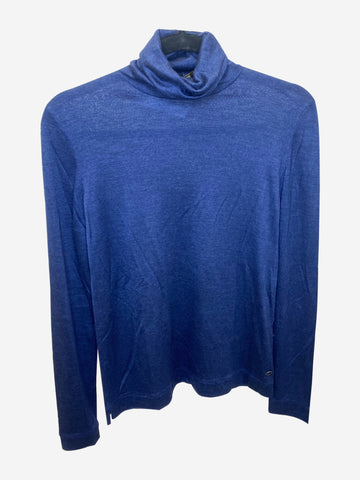 Navy cashmere silk blend roll neck - size IT 44