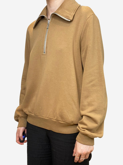 Tan quarter zip cropped sweatshirt - size M