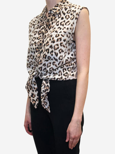Animal print sleeveless blouse - size S