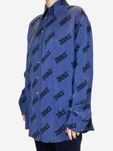 "Load image into Gallery viewer, Dark blue ""Dance"" print long sleeve shirt - size S"