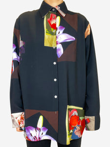 Black long sleeve flower print blouse - size UK 8