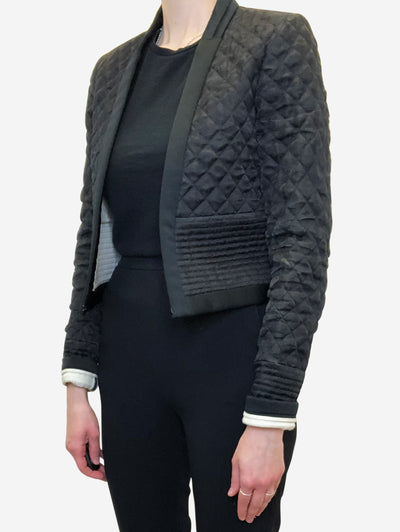Black cropped quilted Jacket - size FR 36