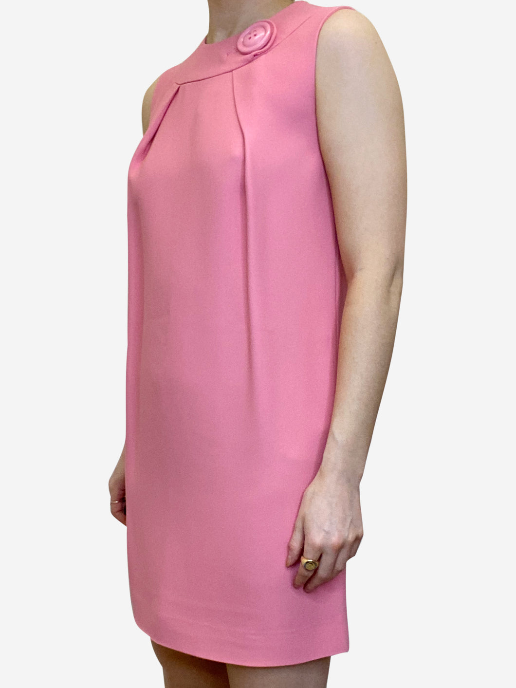 Pink sleeveless shift dress with large button detailing - size IT 38