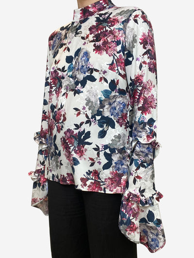 White & pink floral ruffle sleeve - size UK 10