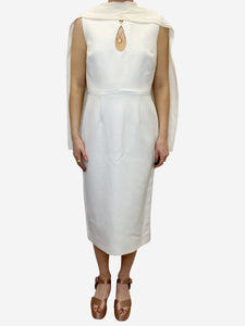 Roksanda Cream shift dress with cape detail - size UK 10