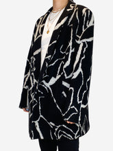 Load image into Gallery viewer, Black and grey patterned open wool jacket - size IT 46