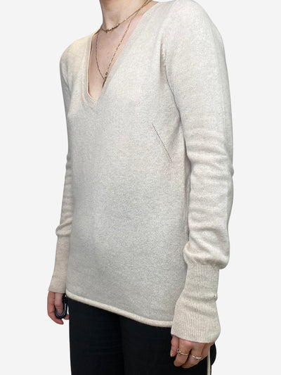 Cream v-neck cashmere sweater - size S