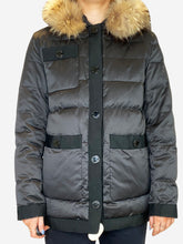 Load image into Gallery viewer, Dark brown puffer coat with fur hood - size FR 36