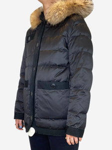 Dark brown puffer coat with fur hood - size FR 36