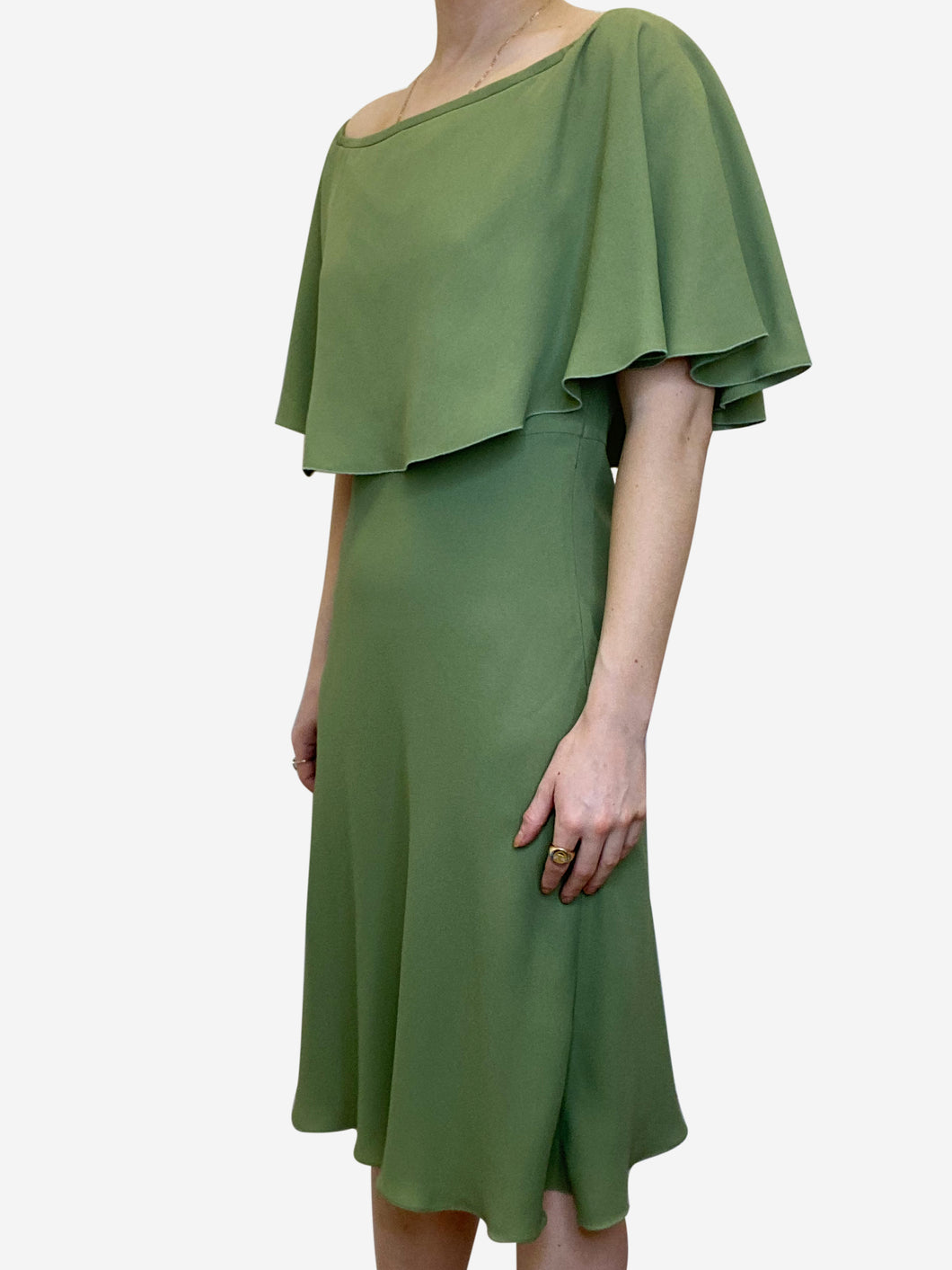 Olive green knee length cape dress - size IT 42