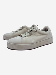 Beige suede lace up trainers - size EU 38