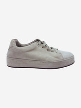 Load image into Gallery viewer, Beige suede lace up trainers - size EU 38