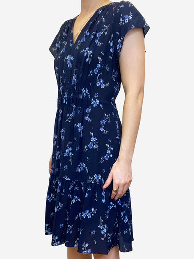 Navy floral knee length dress with gathering - size UK 8