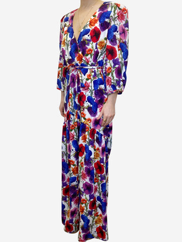 Red & purple floral puff sleeve maxi dress - size UK 12