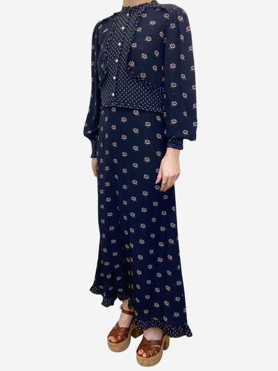 Navy floral ruffle detail maxi dress - size UK 10