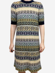 Chanel Navy cashmere fair-isle jumper dress - size FR 36