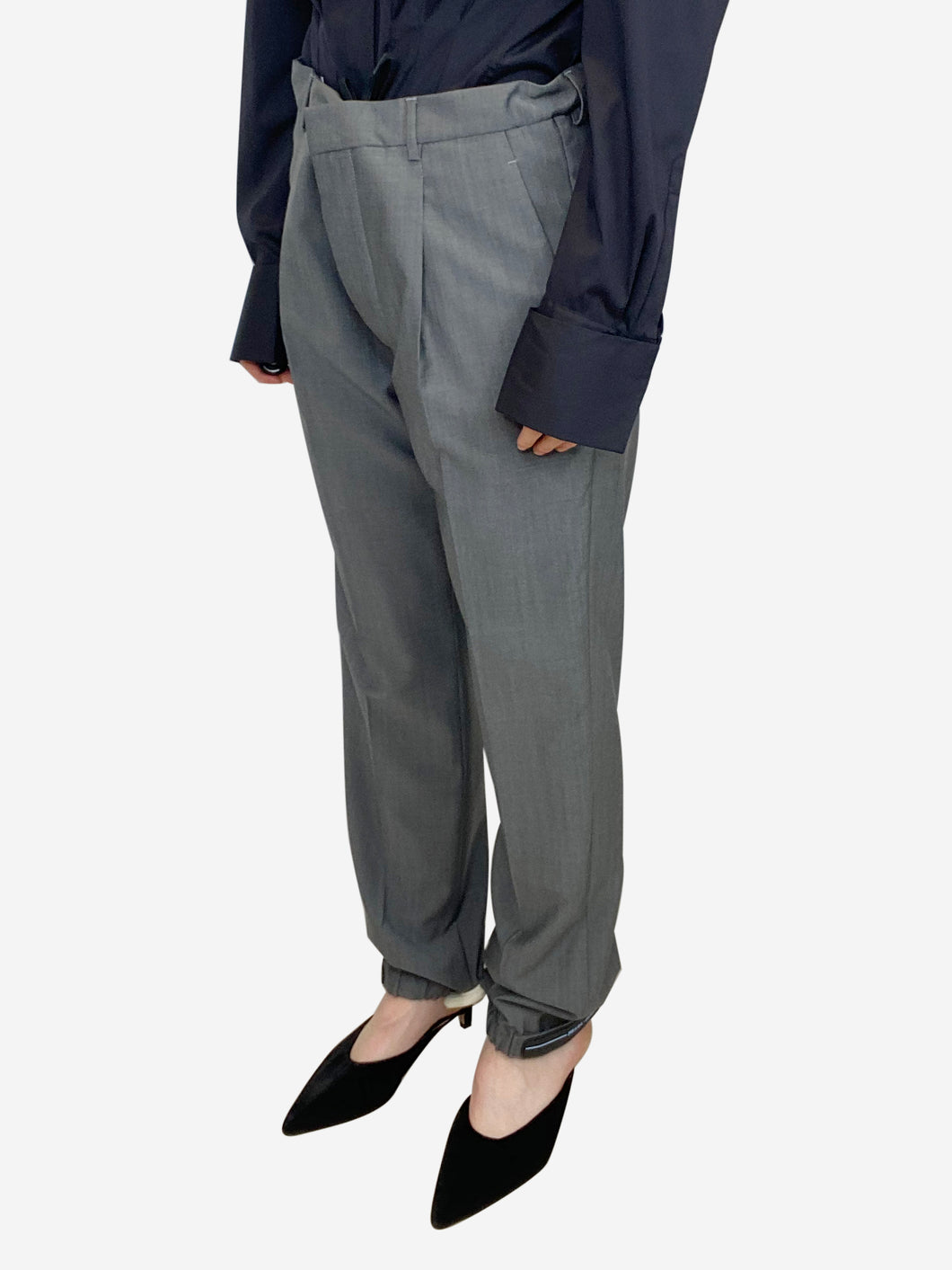 Grey suit trousers with elastic ankle logo - size IT 40