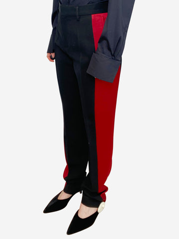 Black tailored trousers with red satin side stripe - size UK 10