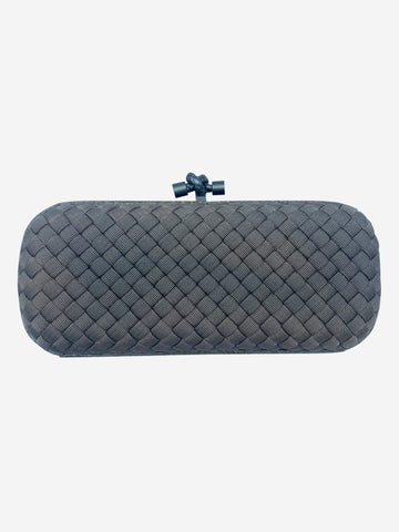 Taupe woven box clutch bag with snakeskin trim