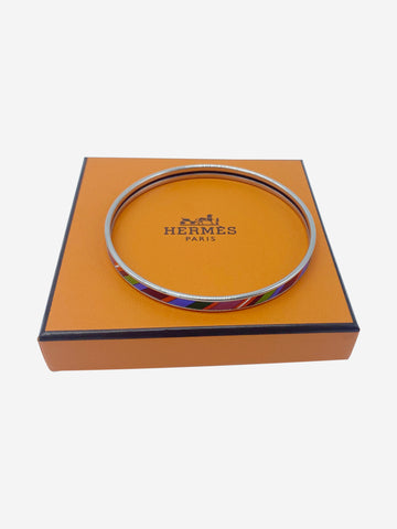 Silver & multicolour stripe enamel bangle