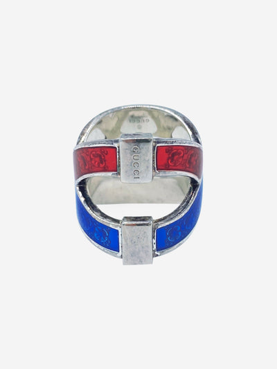 Blue & red Garden Flora silver ring